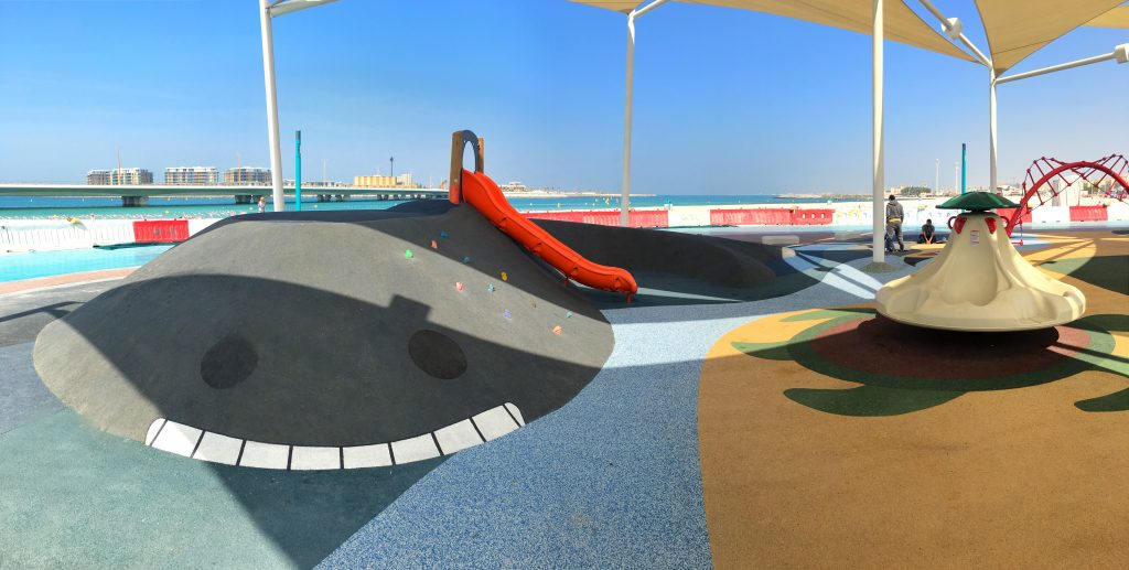 PAGplay EPDM safety flooring on a playground in Abu Dhabi