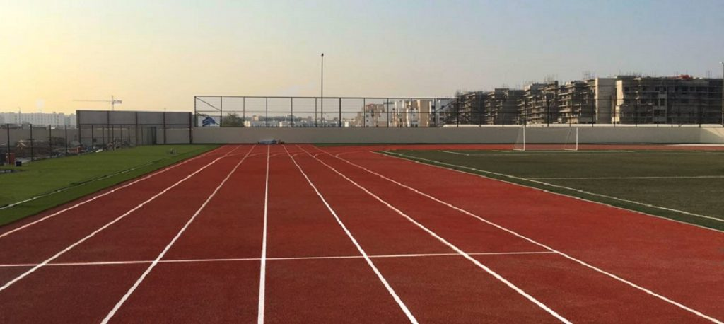 picture of a PAGsports running track in a school in Dubai, UAE