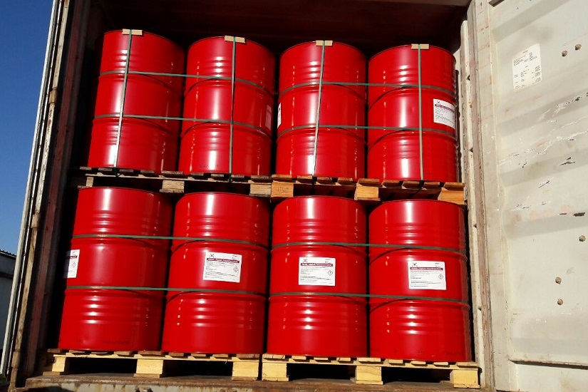 picture of PAG binder in red PAG barrels in the back of a transportation truck